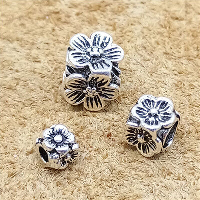 10/4/2pcs Sterling Silver Flower Cube Beads 925 Silver for Bracelet 4mm 6mm 8mm