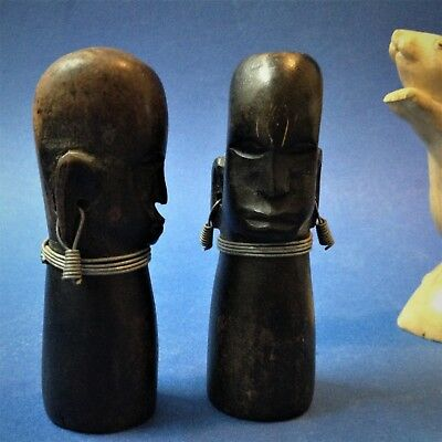 African Carved & Ebonised Wood Figural  Salt & Pepper Shakers - 10cm T, Unique