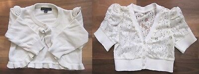 Two Girl's Size 5 White Short Sleeve and Long Sleeve Cardigans by Pumpkin Patch
