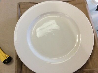 """12 x White Wide Rimmed Plate 12"""" Plates Professional Hotelware BS4034 Joblot"""