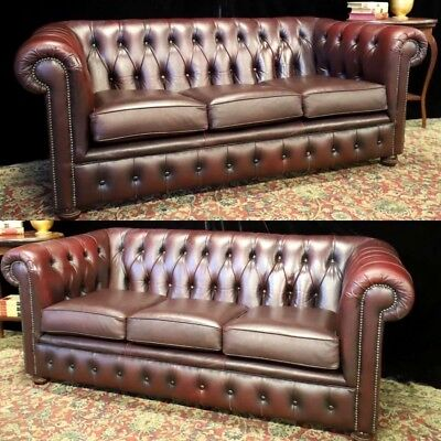 Gorgeous Pair Of 3 Seat Leather Chesterfield 3 Seat Sofa Couch Lounge Suite
