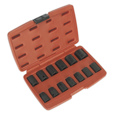 """SEALEY 13pc Air Impact Wrench Socket Set 1/2"""" Square Drive Metric 10-24mm w/Case"""
