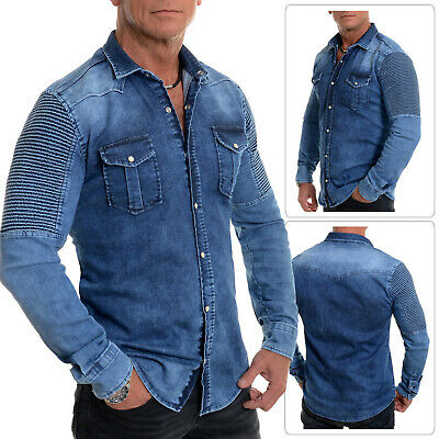 826b47bef5 Men s Dark Blue Western Denim Shirt Metal Clips Poppers Cotton Ribbed Arms