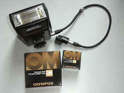 Olympus OM Electronic Flash T32+TTL autoconnecter type 4-TTL+auto cord 0.3m