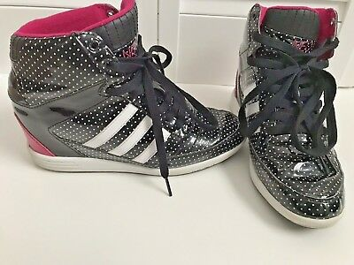 ADIDAS Neo Super Wedge High Top Polka Dot Womens Sneakers Shoes Sz 8 Pink  Black f0f260a6b