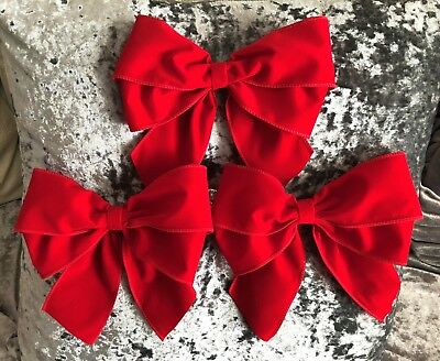 """Luxury Red Velvet large 8"""" tie on bows (pack of 3)  xmas gifts, tree bows etc.."""
