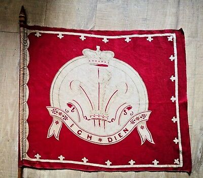 "Victorian Prince of Wales Flag on Pole - (Leinster Regiment?) - 24"" x 20"""