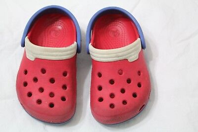 Toddler Crocs Size 6 / 7 red blue white
