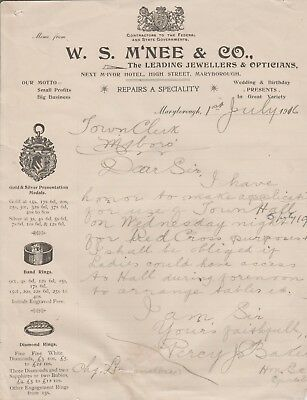 MARYBROUGH INVOICE LETTER ''W S McNEE & CO '' LEADING JEWELLERS 1916