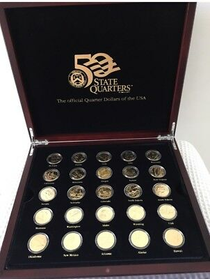 Macquarie Mint 50 US State Quarters Collection -Gold  Plated -Wooden Box + Watch