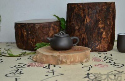 Marked China Yixing Clay Purple Sand Tin Handle Lid Black High Stone Teapot 0208