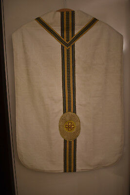 gebrauchtes weisses Messgewand, Kasel , Casel, Chasuble (0415)