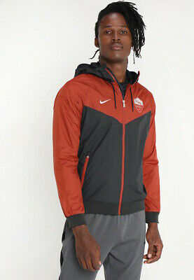 As Roma Nike Giacca Sportiva K-way Jacket 2018 19 Windrunner Nero Rosso eea6a009d31