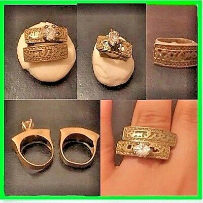 Rare Antique Wedding Bronze Ring Beautiful Authentic Amazing With Stone 2 Pcs