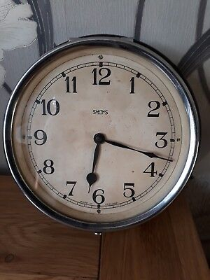 SMITHS BAKELITE & CHROME WALL CLOCK  7 x 2.5 inches