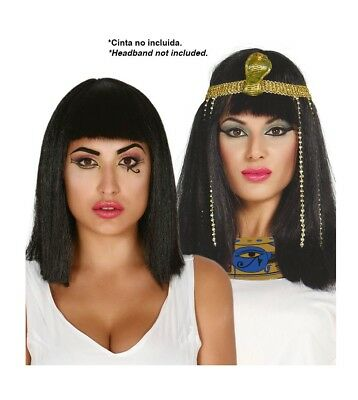 Ladies Cleopatra Black Wig Fancy Dress Queen of the Nile Accessory