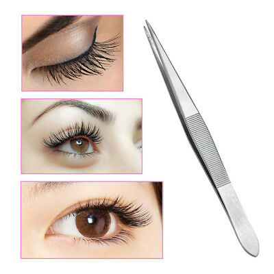 2pcs Curved&Straight Fine Point Tweezers Eyelash Extensions Stainless Steel