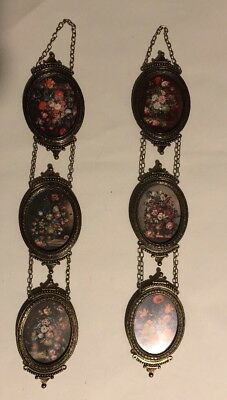 Vintage Flower Prints in Metal Ornate Frames Convex Glass Italy 6 Pieces/2 Set