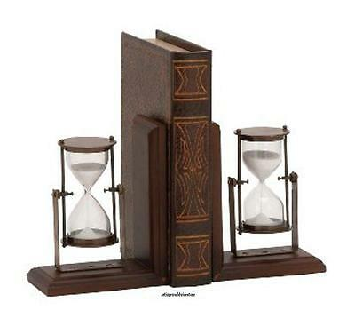 Antique look Replica wooden Bookend W/ sand timer pair
