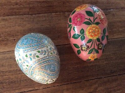 2 x Vintage Hand Crafted Painted Lacquer Easter Egg Trinket Box India