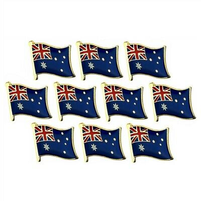 "LOT OF 10 AUSTRALIAN FLAG LAPEL PIN 0.5"" AU Australia Pinback Hat Tie Tack Badge"