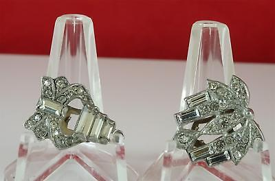 Vintage Dress Clip Married Pair Rhinestones Art Deco Lot1.25 Inches