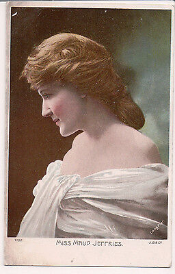 Cartolina D'Epoca Maud Jeffries Americana Actress Colore