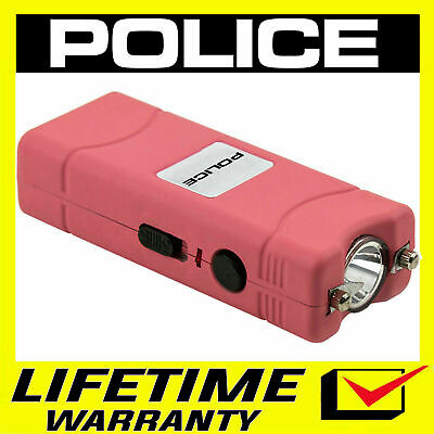 POLICE Stun Gun 801 Pink 160 BV Rechargeable LED Flashlight + Holster Case