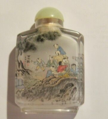 chinese snuff bottle inside painted 100 boys design