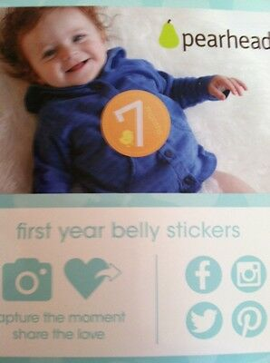 Pearhead First Year Monthly Milestone Photo Sharing Baby Belly Stickers 1-12