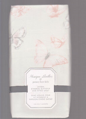 pottery barn kids Monique Lhuillier Sateen Ethereal Butterfly crib sheet,pink