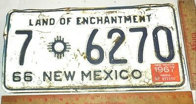 1966 New Mexico license plate vintage Rusty Rat Rod collectible old car tag