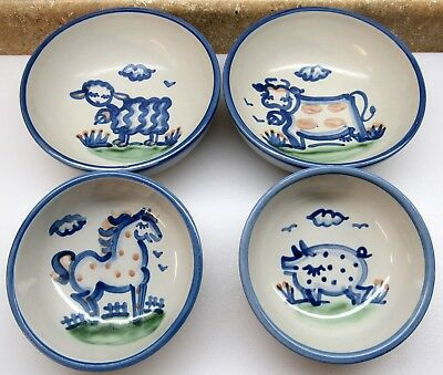 Vtg Kitchen Country (4) M.a. Hadley Animal Farm Scene Cereal Or Soup Bowls Euc !