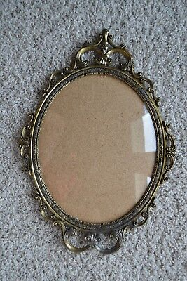 "17"" Vintage Italy Antique Brass Metal 10 x 12 Frame w/Convex-Curved-Bubble Glass"