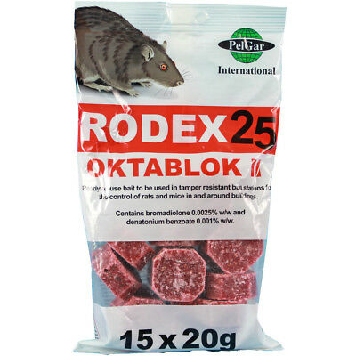 Rodex 25 Oktablok Rat Mouse Poison Killer Bait Blocks 15x20g Mice