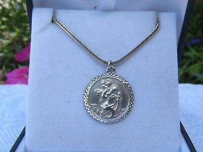 Vintage Large Silver St Christopher Pendant & Heavy Siver Chain Very Good Con