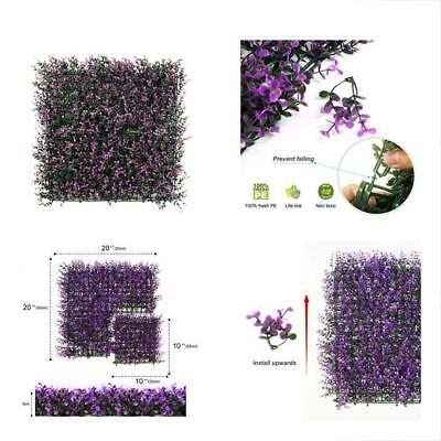 ULAND 6 Piece Artificial Boxwood Hedge Mat, Long Purple Leaves, Outdoor Wall