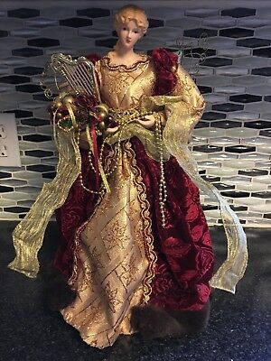 Gold Burgundy Ceramic Angel Tree Topper 16 inches