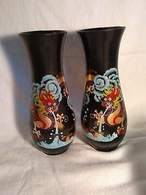 Vintage Antique Chinese Pair Black Lacquer Dragon Vases handpainted mirror image