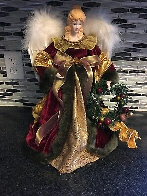 Ceramic Angel Burgundy Gold Tree Topper 16 inches