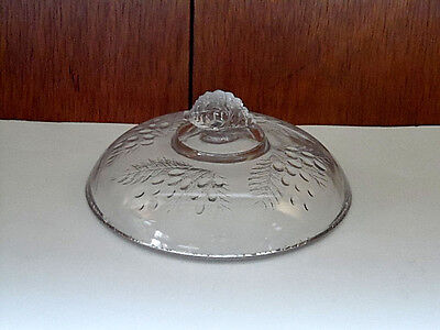 "Antique EAPG McKee Barberry Clear Glass Lid Only Small 5 13/16"" Diameter c1880"