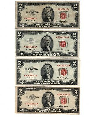 (4) 1953 SERIES $2.00 ✯ Red Seal Lot ✯ 1953 WITH STAR NOTE ✯ Lot of 4 ✯