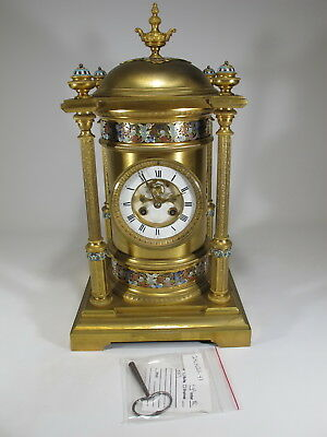 19th C French gilt bronze champleve clock # M501