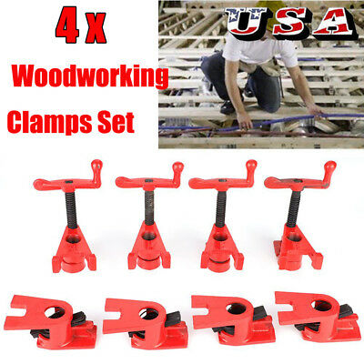 Heavy Duty 3/4''Wood Gluing Pipe Clamp Kit Profesional Woodworking Cast Iron Set
