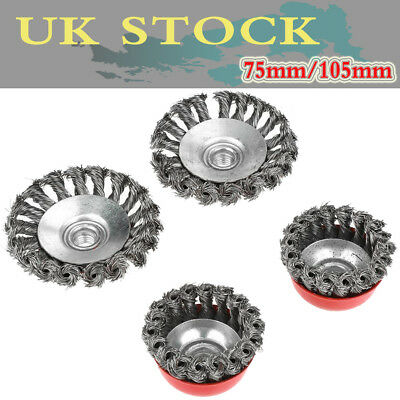 4x Twist Knot Wire Wheel Disc & Cup Brush Set Kit for Angle Grinder M14 Crew