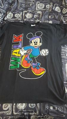 Vintage Mickey Mouse T-Shirt Walk Exercise Large Mickey's Workout Wear 80's
