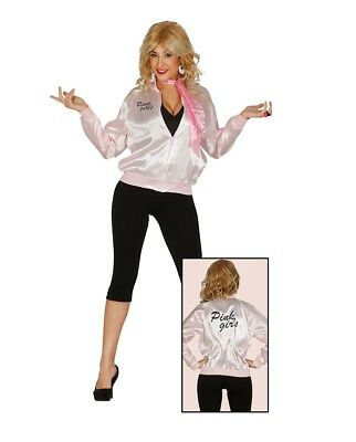 Adult Ladies 1950s Pink Medium Size Jacket Grease Fancy Dress Party