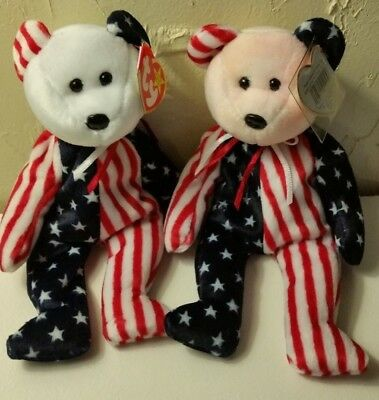 Ty  Spangle Bear Patriotic Pink Face Beanie Baby Retired Vintage 1999 Mwmt