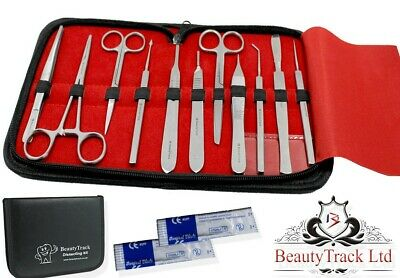 Prof. 13 Pcs MEDICAL DISSECTING KIT Surgical Anatomy Instruments SET Basic DE