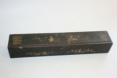 Antique Chinese Wooden Lacquer Gilt Painted Hand Fan Box